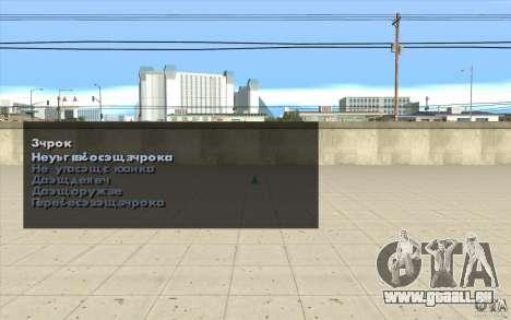 Les caractéristiques du jeu pour GTA San Andreas quatrième écran