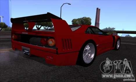 Ferrari F40 GTE LM für GTA San Andreas Innenansicht