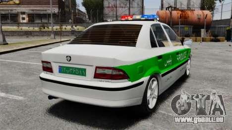 Iran Khodro Samand LX Police pour GTA 4 Vue arrière de la gauche