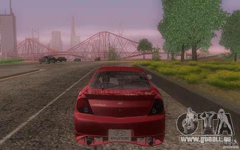 Hyundai Tiburon V6 Coupe tuning 2003 pour GTA San Andreas vue de dessus
