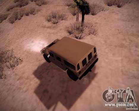 Hummer H1 Alpha pour GTA San Andreas sur la vue arrière gauche