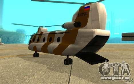 GTA SA Chinook Mod pour GTA San Andreas vue de droite