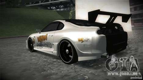 Toyota Supra MyGame Drift Team pour GTA San Andreas sur la vue arrière gauche