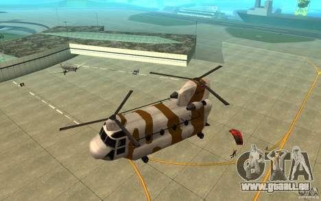 GTA SA Chinook Mod pour GTA San Andreas vue de dessous