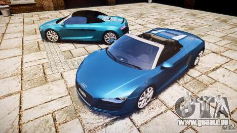 Audi R8 Spyder 5.2 FSI Quattro V4 [EPM] pour GTA 4 Vue arrière de la gauche