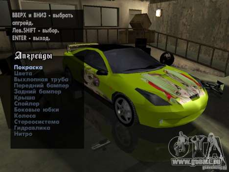 Toyota Celica pour GTA San Andreas vue arrière