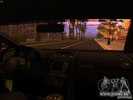 Lamborghini Gallardo Underground Racing für GTA San Andreas Innenansicht