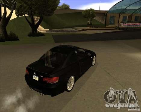 BMW M3 Convertible 2008 pour GTA San Andreas vue arrière