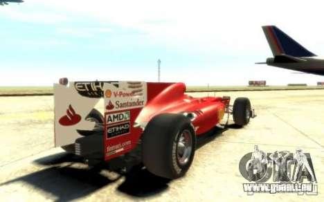 2010 Scuderia Ferrari F10 pour GTA 4 Vue arrière de la gauche