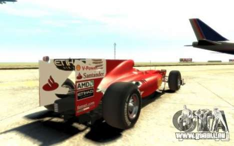 2010 Scuderia Ferrari F10 für GTA 4 hinten links Ansicht