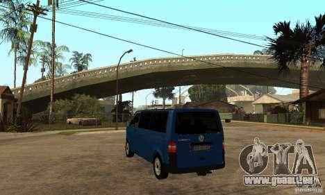VW Transporter T5 2.5 TDI long für GTA San Andreas zurück linke Ansicht