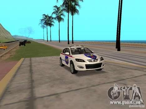 Mazda 3 Police für GTA San Andreas rechten Ansicht