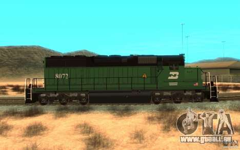 Lokomotive SD 40 Burlington Northern 8072 für GTA San Andreas linke Ansicht
