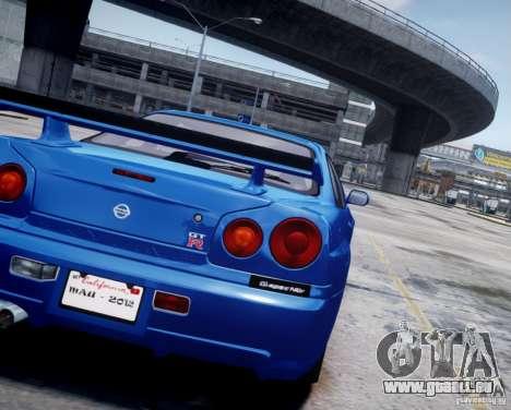 Nissan Skyline GT-R R34 Mspec pour GTA 4 Vue arrière