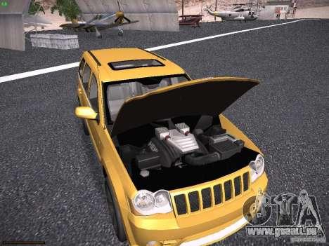 Jeep Grand Cherokee SRT8 für GTA San Andreas Innenansicht