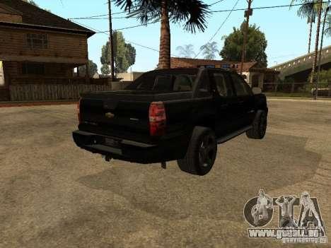 Chevrolet Avalanche Police für GTA San Andreas zurück linke Ansicht