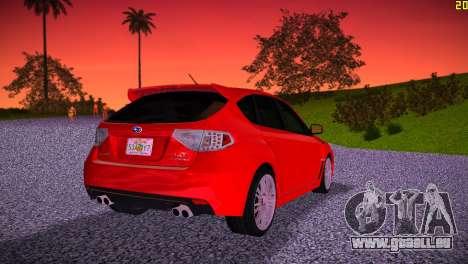 Subaru Impreza WRX STI (GRB) - LHD pour GTA Vice City sur la vue arrière gauche