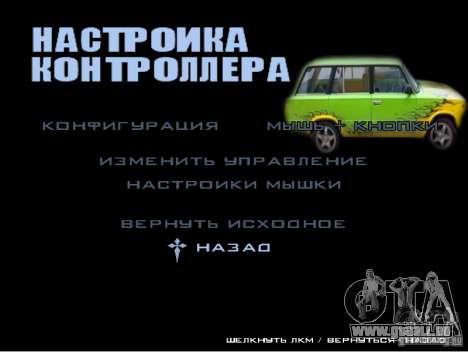 Le nouveau menu du jeu pour GTA San Andreas quatrième écran