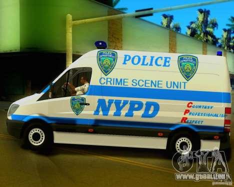 Mercedes Benz Sprinter NYPD police pour GTA San Andreas laissé vue