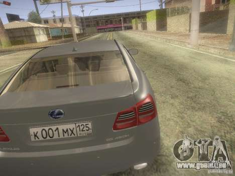 Lexus GS450H pour GTA San Andreas sur la vue arrière gauche