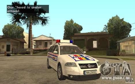 VW Passat B5+ Variant Politia Romana pour GTA San Andreas vue arrière