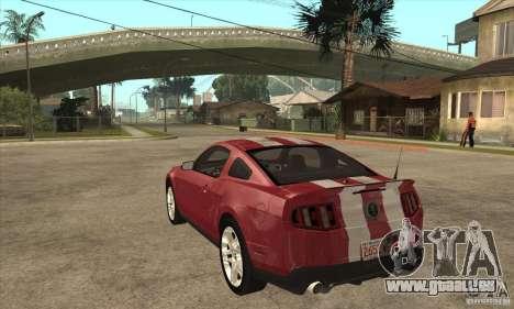 Shelby GT500 2010 pour GTA San Andreas sur la vue arrière gauche