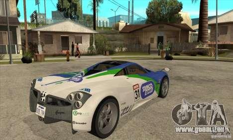 Pagani Huayra ver. 1.1 für GTA San Andreas Rückansicht