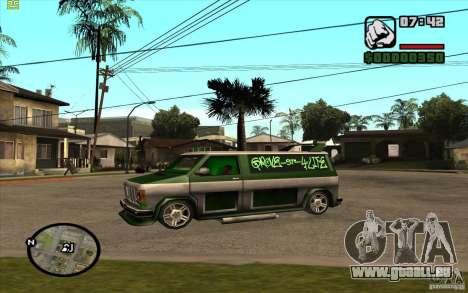 Grove Street Gang Burrito pour GTA San Andreas sur la vue arrière gauche