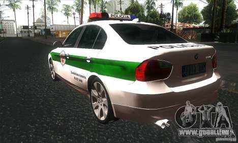 BMW 330 E90 Policija für GTA San Andreas zurück linke Ansicht
