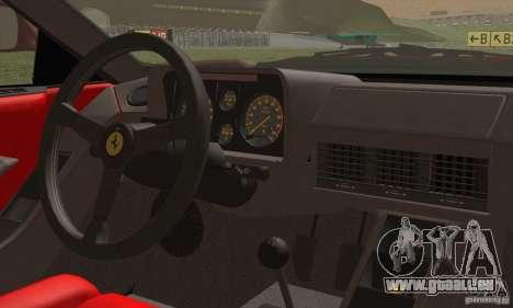 Ferrari Testarossa 1986 für GTA San Andreas Innenansicht