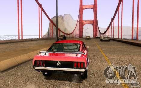 Ford Mustang Boss 302 für GTA San Andreas Rückansicht