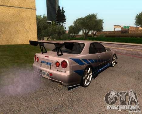 Nissan Skyline R-34 GT-R M-spec Nur pour GTA San Andreas vue intérieure