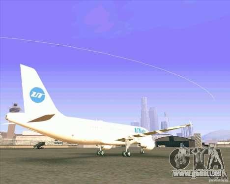 Airbus A-320 compagnie aérienne UTair pour GTA San Andreas sur la vue arrière gauche