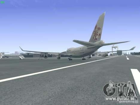 Boeing 747-400 China Airlines für GTA San Andreas zurück linke Ansicht