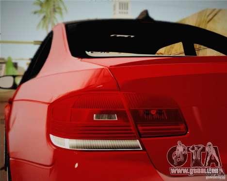 BMW M3 E92 v2.0 pour GTA San Andreas sur la vue arrière gauche
