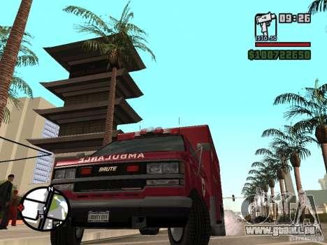 Ambulance de GTA IV pour GTA San Andreas sur la vue arrière gauche