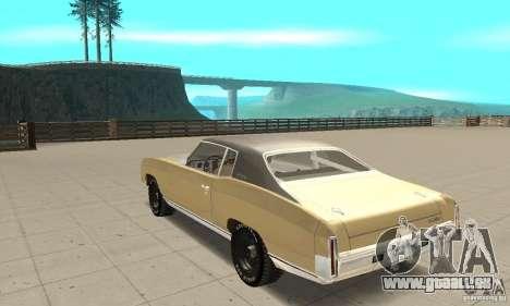Chevy Monte Carlo [F&F3] pour GTA San Andreas sur la vue arrière gauche