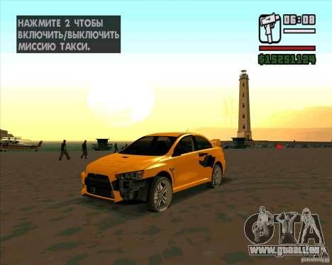Mitsubishi Lancer Evolution pour GTA San Andreas sur la vue arrière gauche