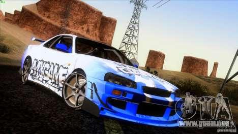 Nissan Skyline R34 Drift für GTA San Andreas Räder
