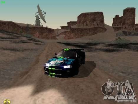 Nissan Skyline GT-R R34 V-Spec pour GTA San Andreas vue intérieure