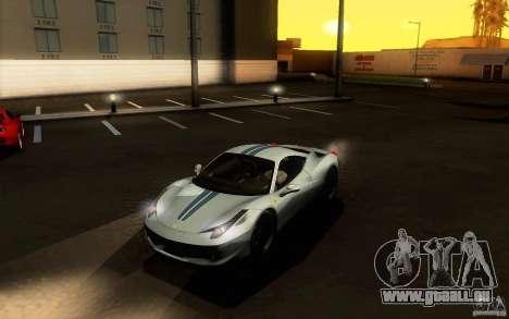 Ferrari 458 Italia Final für GTA San Andreas Seitenansicht