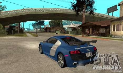 Audi R8 V10 v2 pour GTA San Andreas sur la vue arrière gauche