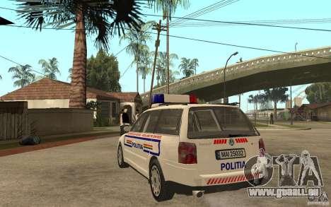 VW Passat B5+ Variant Politia Romana pour GTA San Andreas sur la vue arrière gauche