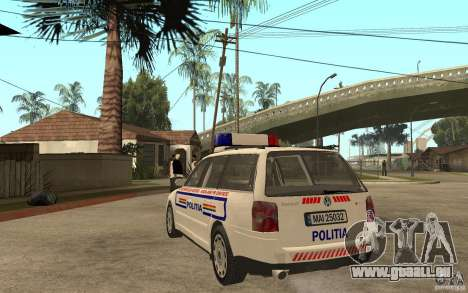 VW Passat B5 Variant Politia Romana für GTA San Andreas zurück linke Ansicht
