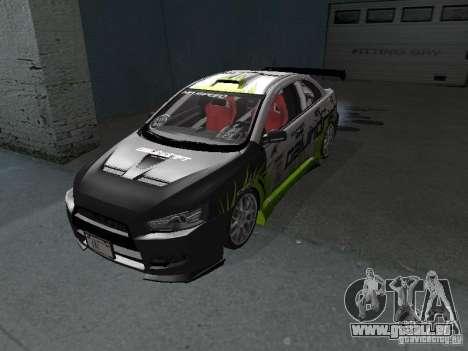 Mitsubishi Evolution X Stock-Tunable pour GTA San Andreas laissé vue