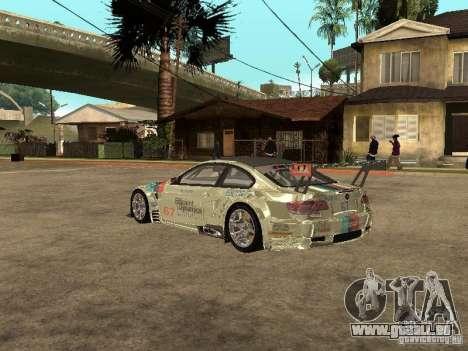 BMW M3 GT2 pour GTA San Andreas sur la vue arrière gauche