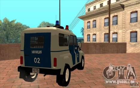 Bobik UAZ-3159 Police c. 2 pour GTA San Andreas vue de droite