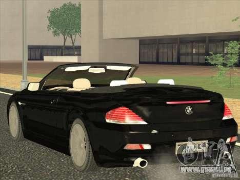 BMW 650I pour GTA San Andreas sur la vue arrière gauche