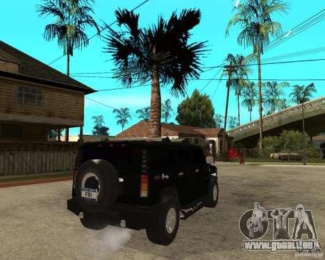 AMG H2 HUMMER SUV FBI pour GTA San Andreas sur la vue arrière gauche