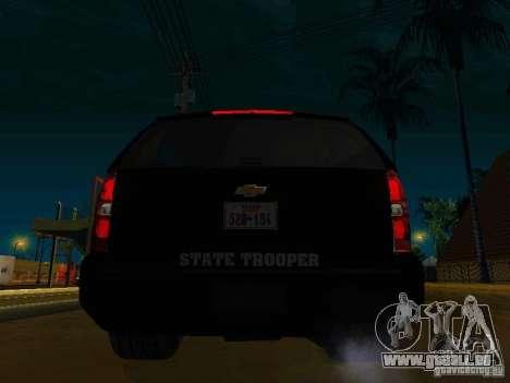 Chevrolet Tahoe Texas Highway Patrol für GTA San Andreas zurück linke Ansicht